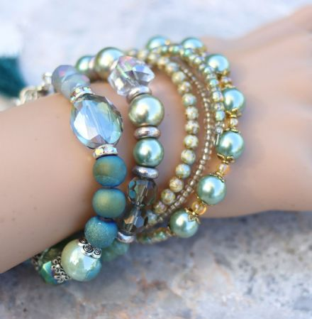 Green & Blue Bracelet Set